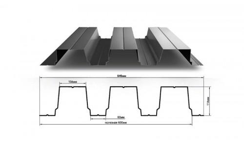 Профнастил Н114 0.75 мм с полимерным покрытием