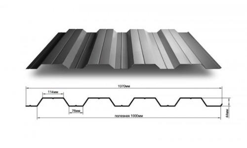 Профнастил для забора НС44 0,85 мм с полимерным покрытием